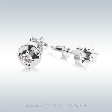 Золотые сережки гвоздики с бриллиантами 'Одри'