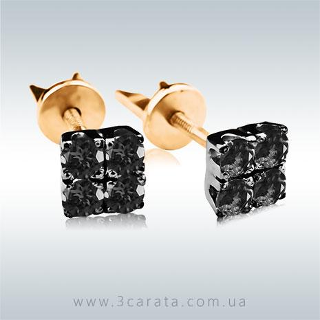 Золотые серьги гвоздики с черными бриллиантами 'Сила Четырех'